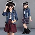 Ropa de las muchachas Fija Rizados Jeans Chaquetas Plaid Dress Niños Chándal Traje de Niños de la Manera Ropa para Niñas TZ13