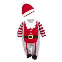 Novelty Costume Christmas Baby Romper Long Sleeve Spring Autumn Wear Clothing Set Top Headband Or Hat