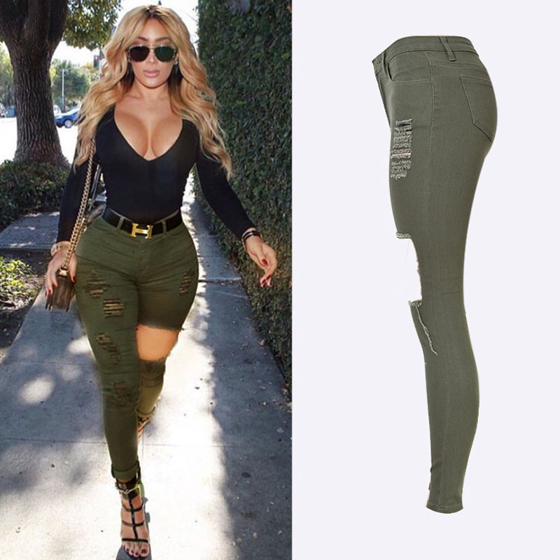Spring 2018 Fashion Femme Denim jeans High Waist Army Green Trousers - Women's Clothing - Photo 2