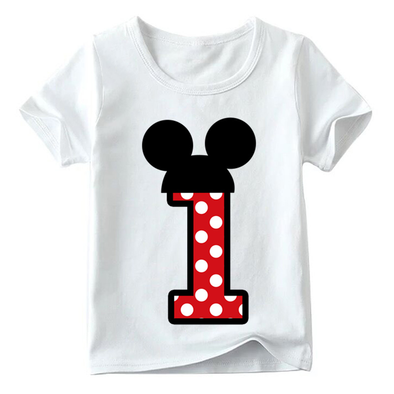 Baby Boys/Girls Happy Birthday Letter Bow Cute Print Clothes Children Funny T shirt,Kids Number 1-9 Birthday Present,HKP2416 16