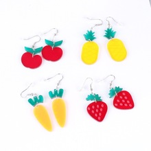 Cool Cute Fruit Acrylic Pineapple Apple Strawberry Carrot Summer New Net Red Silver Earrings
