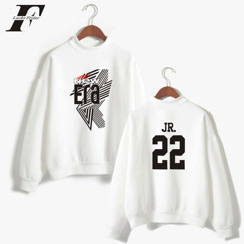 LUCKYFRIDAYF 2018 BTS GOT7 Kpop Fashion Anime Print YOUNGJAE 17 Women/Men THE NEW ERA Cool Turtleneck Sweatshirt Fashion
