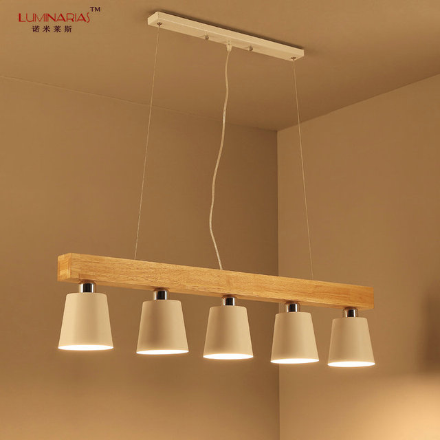 2017 New Nordic Home Wood Dinning Room Pendant Lamp Lampada Luminarias Decoration Lighting Fixture With Led
