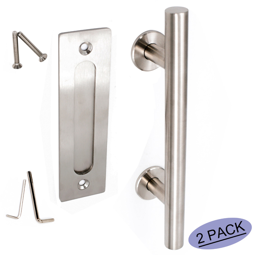 Door Pulls Us 106 78 Flush Door Pulls Handles Set Ls08bsn Brushed Nickel Sliding Barn Door Furniture Hardware Handle Finger Pulls Stainless 2 Pack In Door