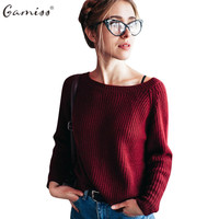 Gamiss New 4 Color Autumn Winter Sweater Women Loose Long Sleeve Knitted Pollovers O Neck Solid
