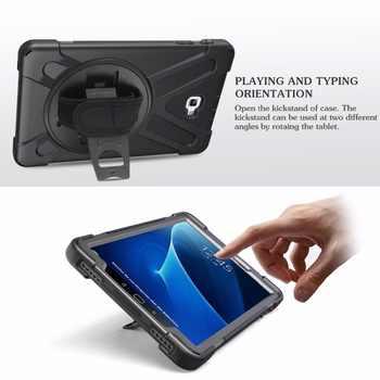 Rotating Hand Shoulder Strap Case for Samsung Galaxy Tab A A6 10.1 2016 2019 T585 T580 T580N T585N T510 T515 SM-T510 Cover Funda
