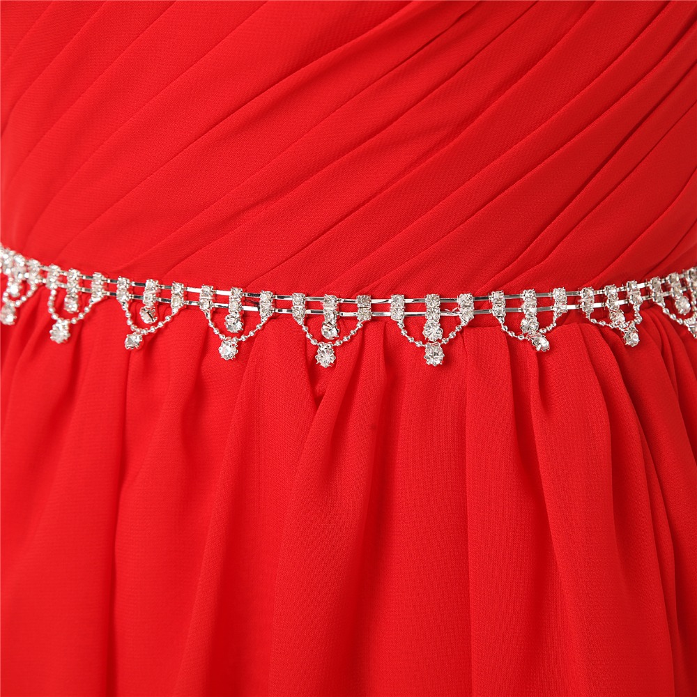 JaneVini Simple Chiffon Red Bridesmaid Dresses One Shoulder Beaded Sleeveless A Line Elegant Women Long Prom Gowns Floor Length in Bridesmaid Dresses from Weddings Events