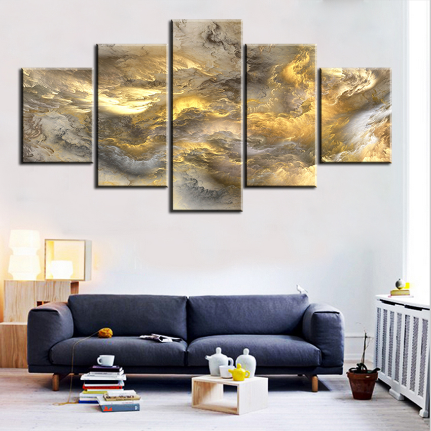 5 pc Set grey and yellow abstract cloud NO FRAME Oil