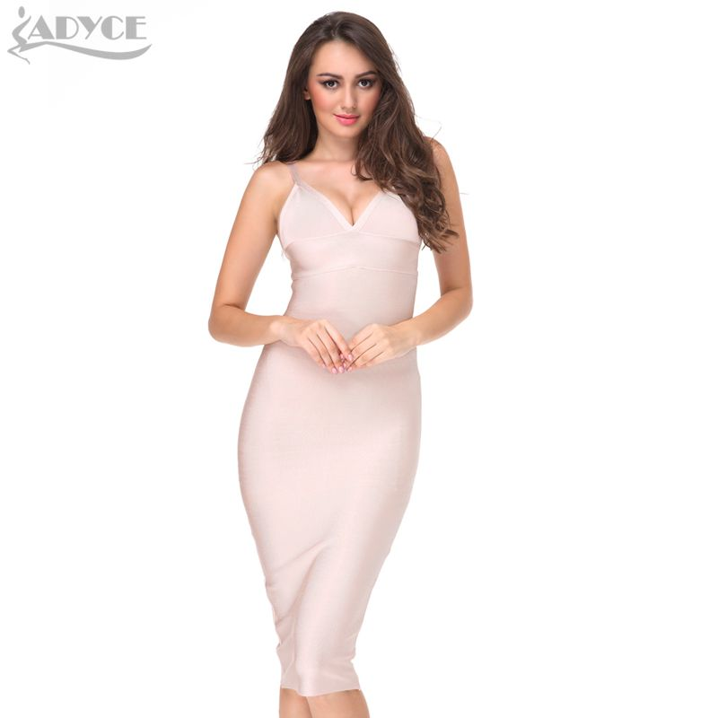 2017 New Sexy Women Summer Red Party Bandage Dress Spaghetti Strap deep V-neck Nude Celebrity Cocktail Runway Bodycon Midi Dress