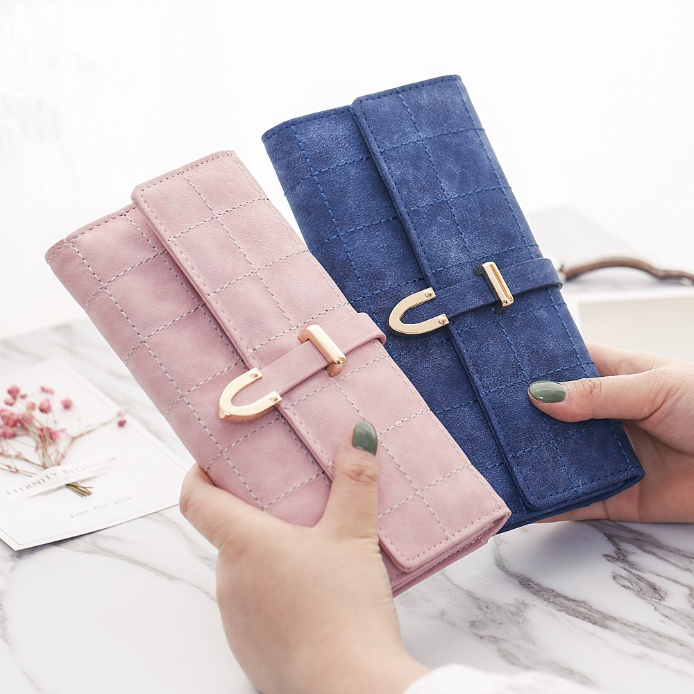NEW High Quality Brand Wallet Women Scrub Leather Lady Purses Ladies Clutch Wallet Long Female Wallet Carteira Feminina HC142