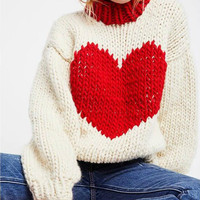 Hand Knitted Woven Red Heart Shape Hit Color Sweater Oversized Thick Lantern Sleeved Pullovers Half Turtleneck Coarse wool Tops