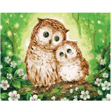 WEEN Two cute owls-Painting By Numbers, Frameworks coloring by numbers,Home Decor Decorations, Canvas painting Modular pictures(China)