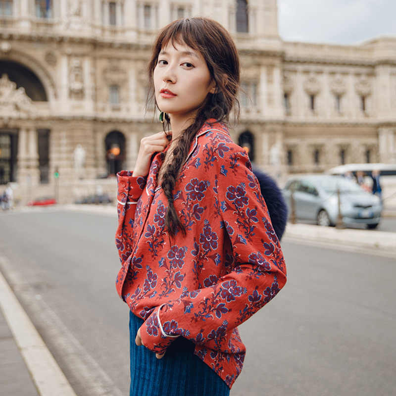 INMAN Spring Autumn Lapel Retro Style Flower Printing Lazy Wind Long Sleeve Women Blouse