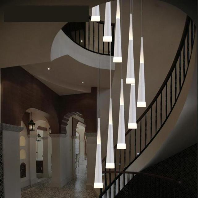 Modern 6-18 pcs Led Cone light Luminaria Long Pendant Lights For Living room 1.5-5m Spiral Stair Lights Dining Room led strip