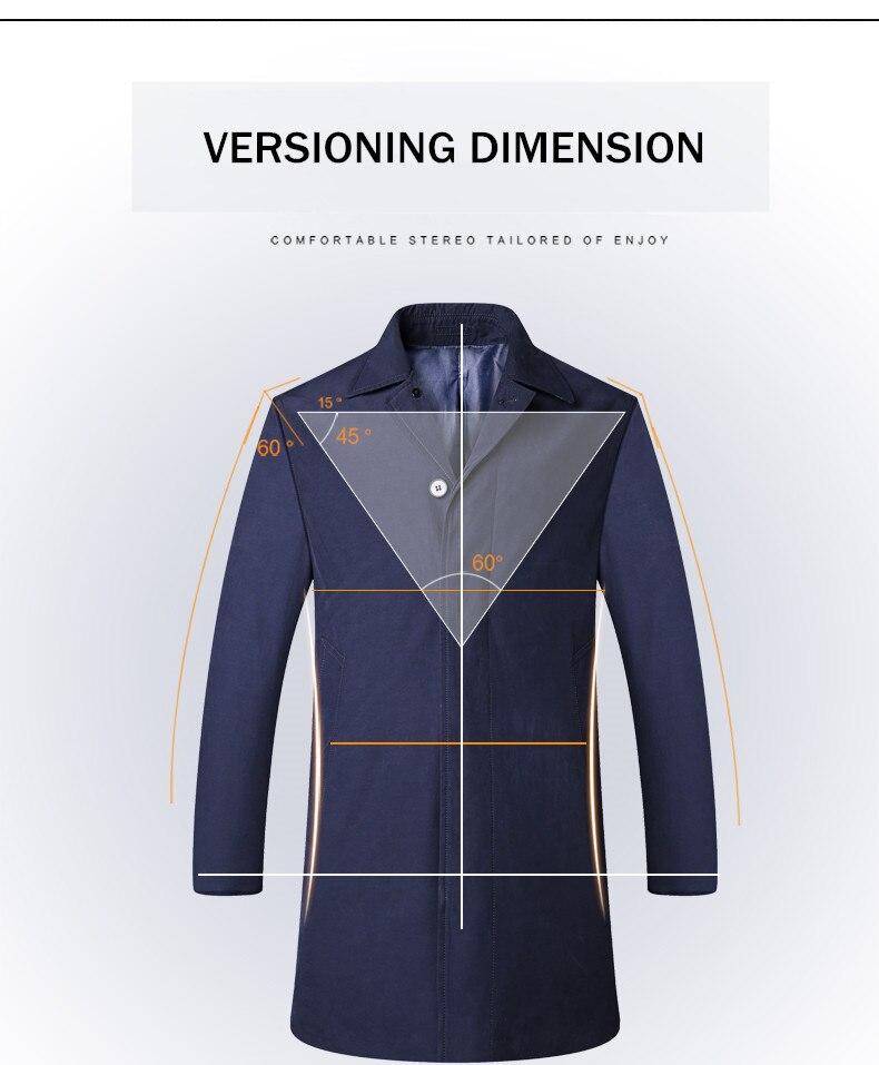 2018 New Spring Mens Casual Trench Coat Khaki blue Longline Thin Windbreaker Coats (5)