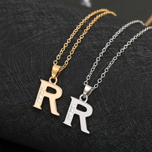 Cursive 26 English Initial Alphabet R name Necklace tiny word Letter monogram charm Metal Engagement necklace