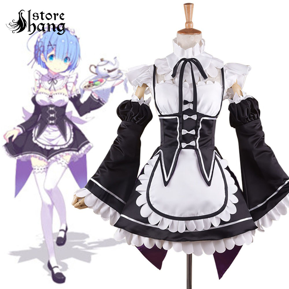 Re Zero Starting Life in Another World Ram & Rem Cosplay Costume Japanese Maid Uniform Halloween Costumes for Women Custom Size