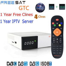 Freesat GTC Receptor DVB-S2 DVB-C DVB-T2 Amlogic S905D android 6.0 TV BOX 2GB 16GB +1 Year 4 CCcam Satellite TV Receiver TV Box