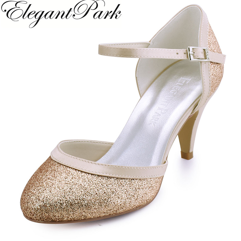 New Shoes Woman Comfortable Pumps HC1510 Silver Gold Round Toe Buckle Glitter Mid Heel Women's Wedding Bridal Shoes Lady Pumps