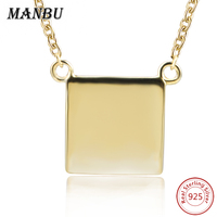 MANBU 925 Sterling Silver Personality Customized Engraving Gold Color Square Shape Necklaces & Pendants For Women Jewelry Gift