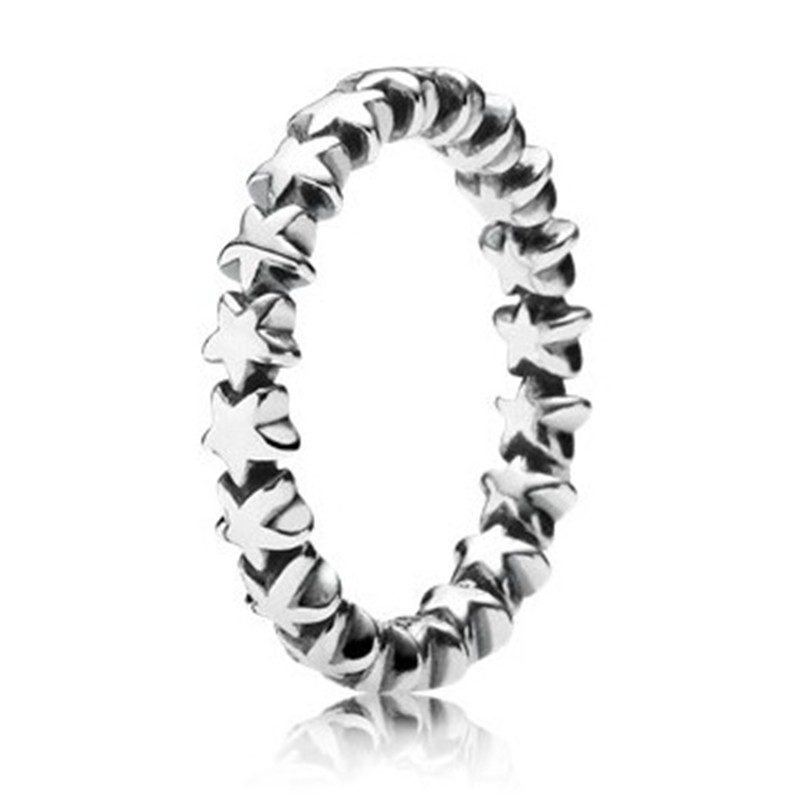 Original 100% Authentic 925 Sterling Silver Star Stacking Ring For Women Engagement Anniversary Gift Lady Fine Pandora Jewelry