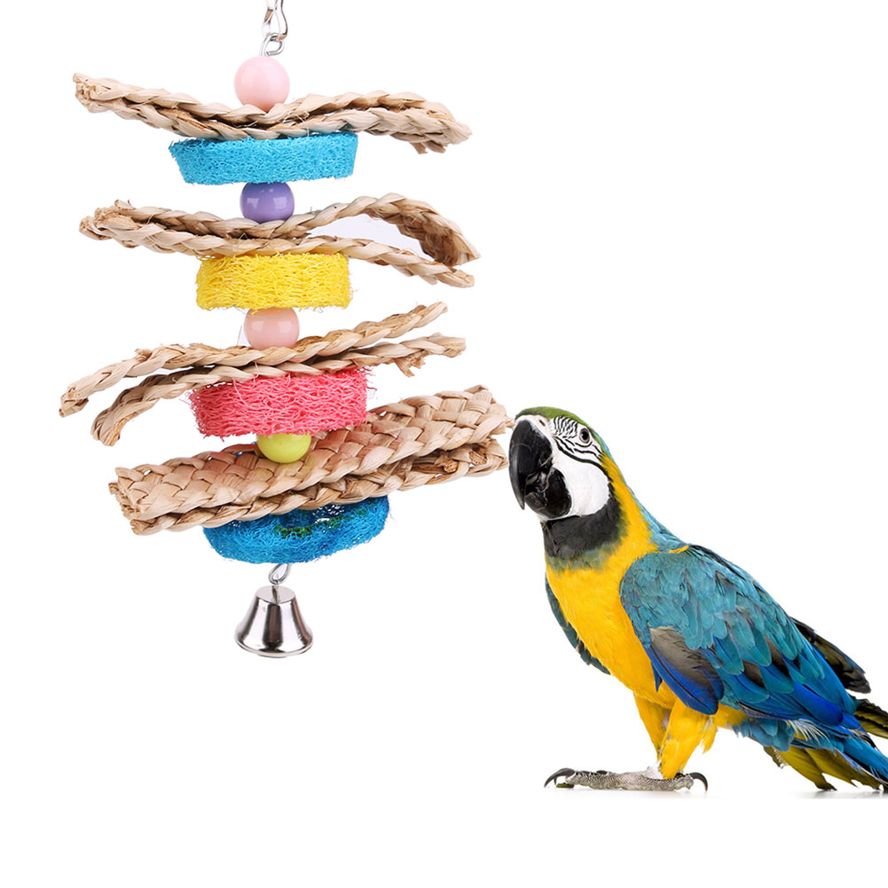 Colorful Parrot Toys Natural Wood Pet Bird Parrot Chew Toys Bird Cage Toys For Conures Parakeet Lovebirds Large Parrots