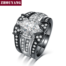 Classic Marquise shape CZ 3 Rings Sets Black Gold / Silver Color Party Wedding Jewelry For Women Gift Wholesale ZYR710
