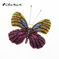 Aitunan Vintage Jewelry Colorful Rhinestone Butterfly Brooches Accessories Wedding Bridal Brooch Pin Elegant Fashion Jewelry