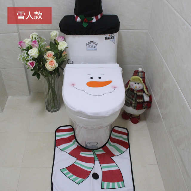 Christmas Toilet Cover 3Pc/Set Santa Toilet Seat Cover Bathroom Rug Carpet Tank Cover New Year home decorations Xmas Decoration
