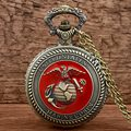 Vintage Bronze Retro United States Marine Corps Theme Pocket Watches for Men Women Military Man Gifts 2017 New