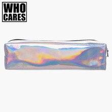 Holo gráfico suave maquiagem saco organizador saco de viagem de Couro 2016 PU sacos cosméticos lápis caso maleta de maquiagem compo o saco