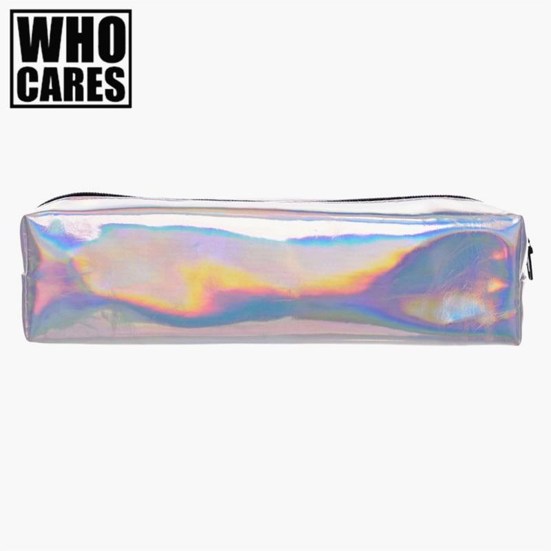 Holo graphique lisse En Cuir maquillage sac organisateur voyage 2016 PU cosmétique sacs crayon cas maleta de maquiagem make up sac