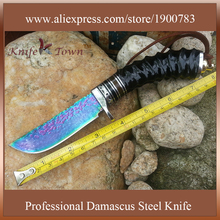 DT041 hot sell damascus steel knife fixed blade knife goat horn ox horn G10 handle Camping Knife hunting knife couteau chasse