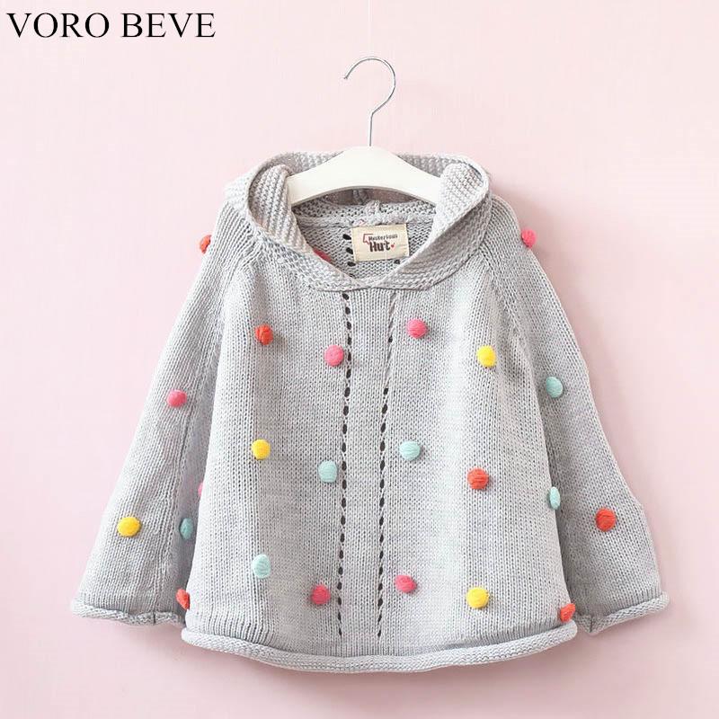 VORO BEVE 2017 Autumn Girls Hooded Hair Ball Knit Children Cloak Kids Clothes Baby Girls Fashion Sweater Coat Children Clothing