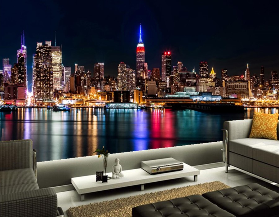 Custom 3d murals, Manhattan skyscrapers seaview lights at night papel de parede, living room TV wall bedroom modern wallpaper