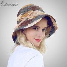 Las mujeres de ala ancha de rafia sombreros de paja para mujer hechos a  mano Playa Sol de verano tapas de ganchillo paja gorro p. 2f5499d7dc7