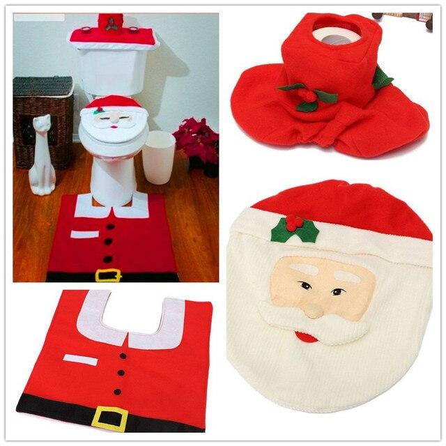 3 Pcs Set New Santa Toilet Seat Cover Christmas Home Decoration Rug Bathroom