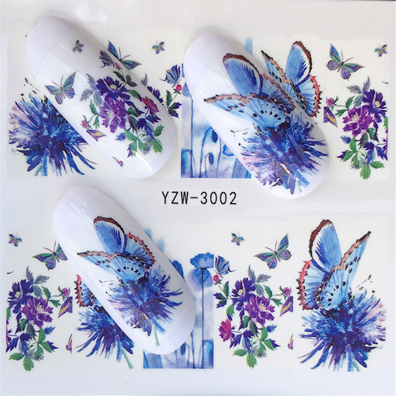 1 Sheet Blue Flower / Butterfly / Dream Catcher Nail Decals For Watermark Manicure Polish Nail Sticker 32 Styles For Choose