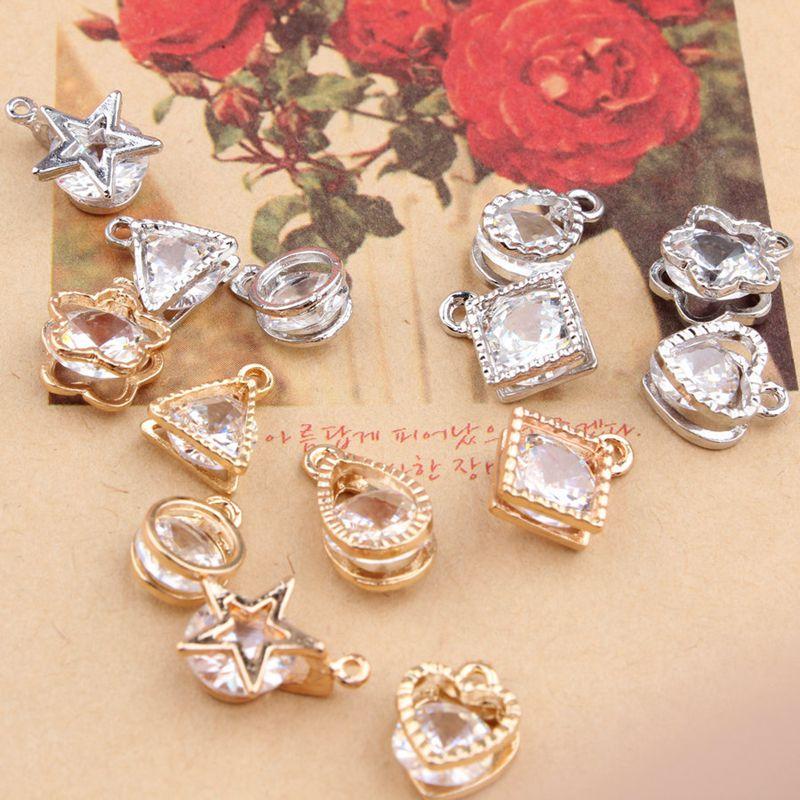 Metal Pendants Gold Silver Triangle Pentagram Metal Necklace Bracelets Charm Pendants DIY Wedding Handmade Decoration 6pcs/bag