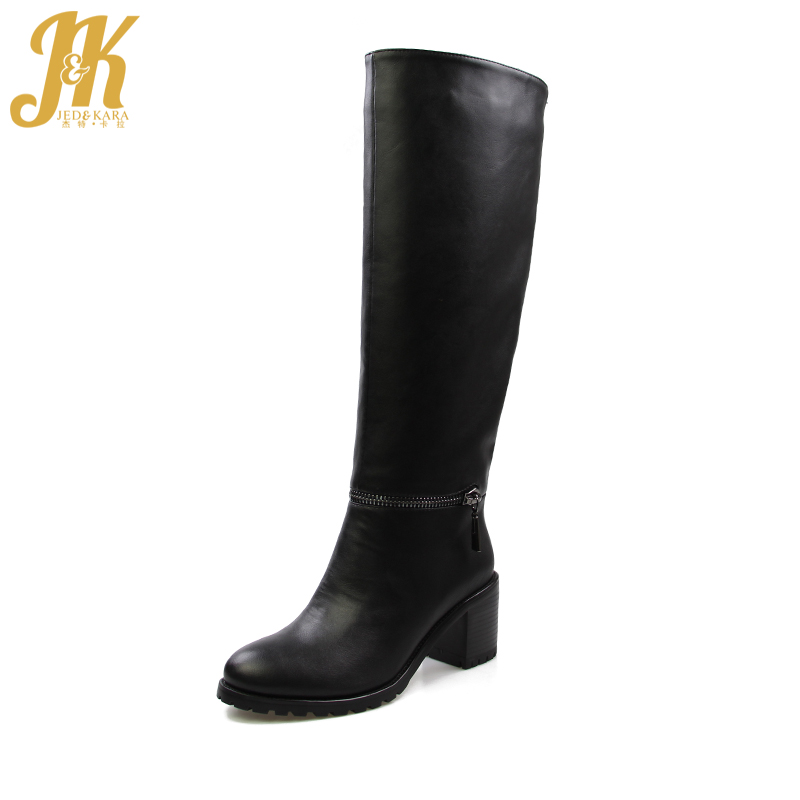 J&K 2017 Winter Keep Warm 650g Thick Fur Boots Women Fashion Knee Boots Square Heels Zipper Female Footwear High Quality 35-43