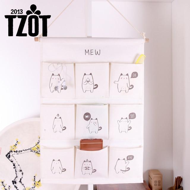 Multi Pockets Wall Hanging Storage Bag Cartoon Cotton Linen Mounted Organizer Pouch E Saver
