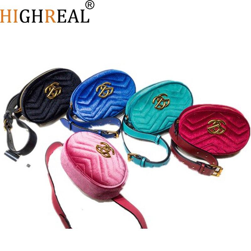 Waist Bag Women Fanny Pack Belt Bag Luxury Brand Fashion Leather Velvet Chest Handbag Red Black Blue Pink  Hight Quality
