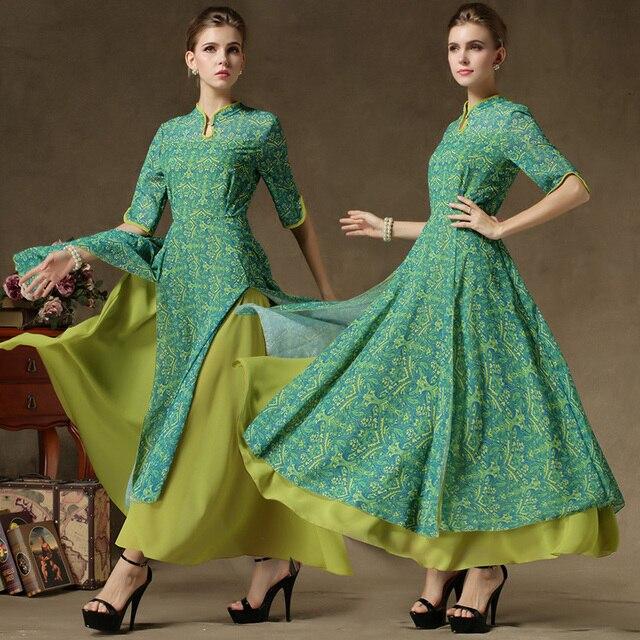 ff21403ebc8a Women Faux Two-piece Loose Chiffon Long Maxi Dress Robe Indian Vestiti  Zomer lady Dresses Ropa Longue Hippie Boho Tunique Femme