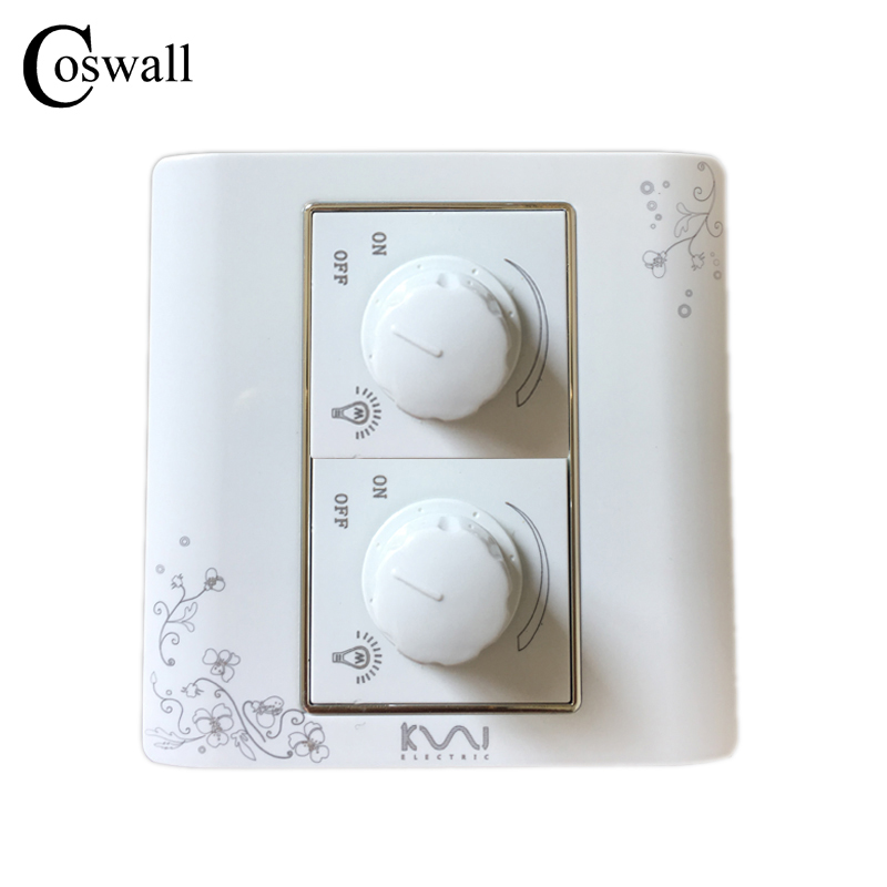 COSWALL Luxury Wall Light Switch Double Dimmer Regulator Ivory White Brief Art Fashion Switch 300W Maximum AC 110~250V coswall 16a eu standard wall double socket dimmer regulator light switch stainless steel panel 236 86mm