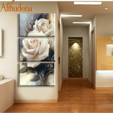 ALMUDENA Fashion Unframed White Rose Flower Picture on Canvas 3 Piece Modular Wall Art Painting for Living Room Home Decoration