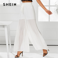 SHEIN White Drawstring Waist Loose Pleated Wide Leg Pants Women Mid Waist Plain Trousers With Lining