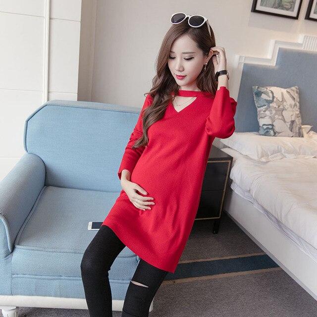 e35713ffa 2016 Nuevo otoño y el invierno ropa coreana mujeres embarazadas maternidad  suéter largo vestido