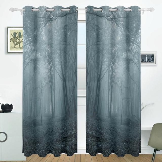 High Quality Forest Night Curtains Drapes Panels Darkening Blackout Grommet Room Divider  For Patio Window Sliding Glass Door