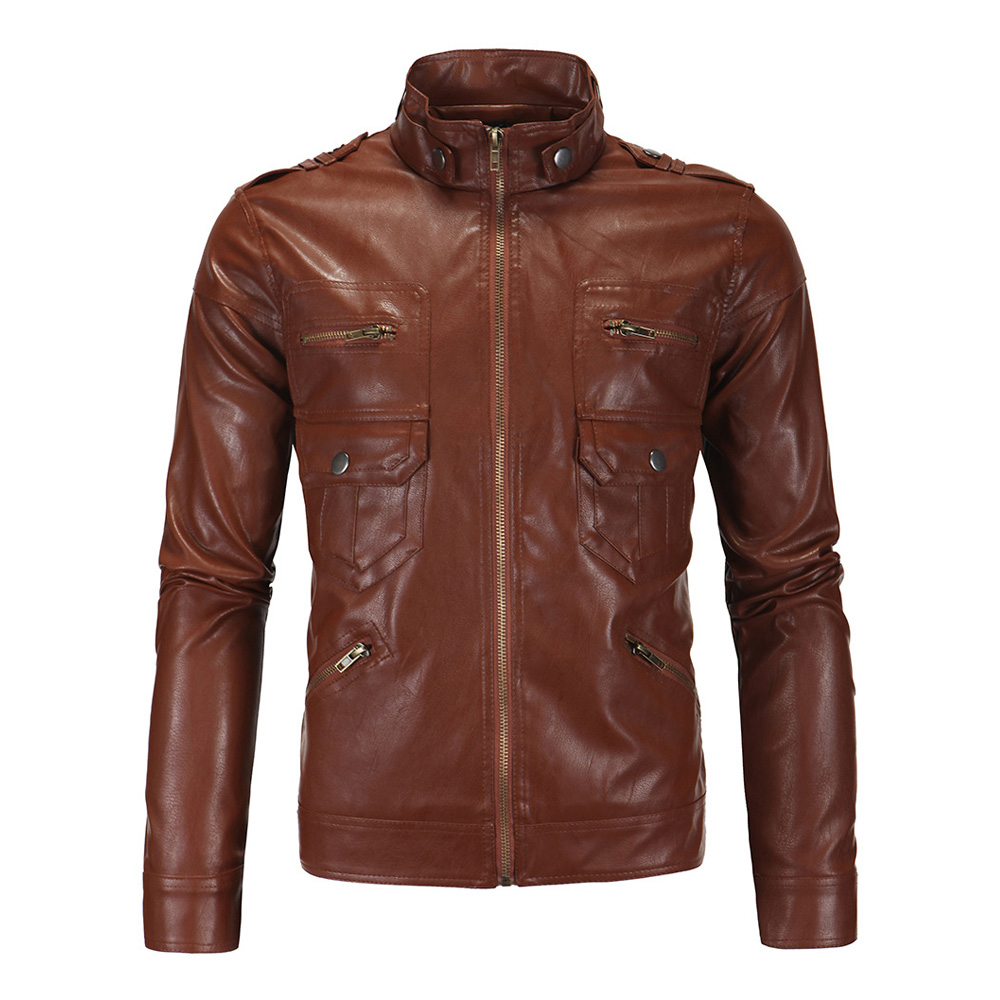 Herobiker Vintage Motorcycle Jacket Men PU Leather Jacket Brown Stand Collar Retro Casual Biker Classical Moto Jacket Size M-5XL stand collar pu leather long sleeve linellae design men s jacket