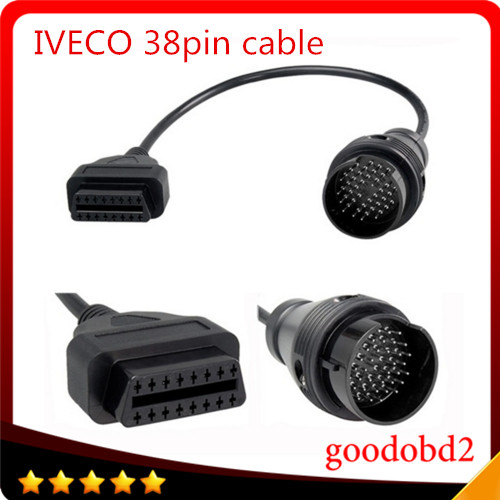 38pin to OBD2 16pin Connector Cable For Iveco Truck Diagnostic Adapter Interface